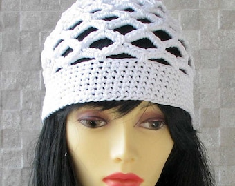 WHITE cotton BEANIE hat for Kundalini sadhana Kufi hat Crochet Cotton hat Skullcap scalloped