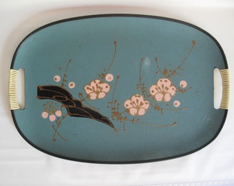 Enesco Serving Tray Turquoise Pink Cherry Blossom Japan Mid Century Modern Hand Painted