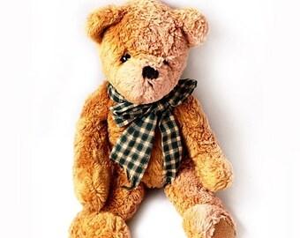 SALE Vintage Italian Teddy Bear with Cotton Ribbon ,Collectible Vintage Teddy Bear ,14,5 inch Bear