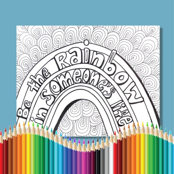Items similar to Coloring Pages for Adults Be The Rainbow ...