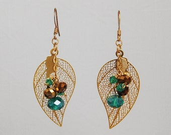 Autumn Leaves Gold and Crystal Earrings