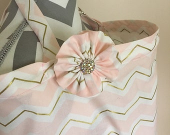 Pink chevron Nursing Cover - pink and gold chevron print nursing cover with a fabric flower clippie - Ready to ship