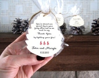 200 Pine Cone Fire starter Woodland Wedding Favor Place Card - Winter Rustic Boho Party Rehearsal - Personalize - Serenity Rose Quartz