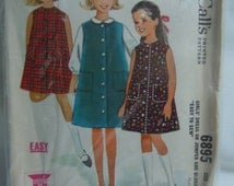 Girls Size 8 Dress, Jumper & Blouse Vintage McCall's Sewing Pattern  #6895, Complete Easy 1960s