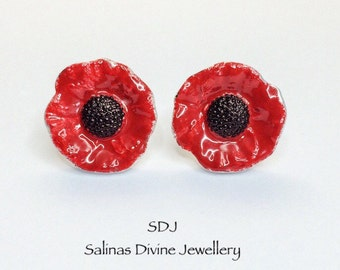 Poppy Earrings/ Remembrance Poppy Earrings/ Fine Silver Poppy Studs