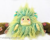 """Yeti artist bear, green and yellow tipped faux fur monster plush, kawaii plush, fantasy creature, collectible toy, art doll  """"Clover"""""""