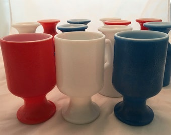 Mid Century Pedestal Mugs - Red, White, and Blue - Set of 12 - Beautiful Condition