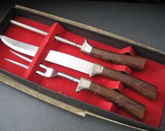 Vintage Regent Sheffield English Stainless Carving/Serving Set, Three Piece Set, In Original Box