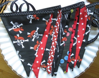 Pirate Pennant Banner, Bunting, Flag Banner, Banners 9 feet long, Pirates, Boys Birthday, Photo Shoot