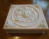 Genuine Pink Incolay Stone Decorative Box, White Carved Cupids Jewelry Box, Large Divided Vanity box, Incolay Dresser Box,