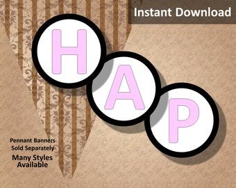 """Baby Pink """"Happy Birthday!"""" Letters Instant Download, Pennant Banner Letters, 3 inch, Black Border, Party Decorations"""
