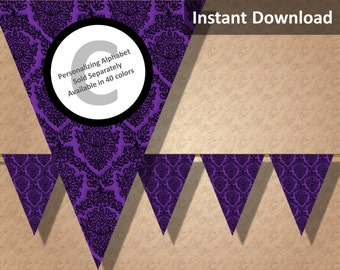 Purple Damask Halloween Bunting Pennant Banner Instant Download, Party Decorations