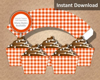 Bright Orange Gingham Cupcake Wrappers Instant Download, Party Decorations