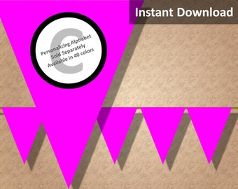 Hot Pink Solid Bunting Pennant Banner Instant Download - Buy ANY 3 Get 1 FREE - Party Decorations
