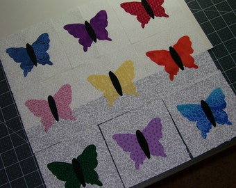Set of 9 Butterfly Applique Quilt Blocks, Bright Scrappy Fabrics