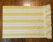 Stripe pillowcase ruffle yellow girly circus decor prairie shabby chic soft cotton vintage bedding