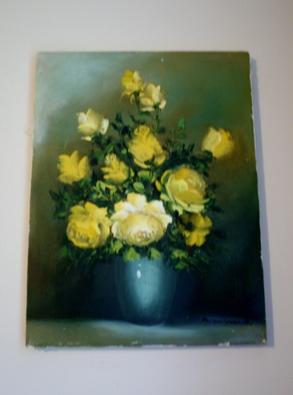 A Montoya Signed Oil On Canvas Painting Yellow Roses In Vase