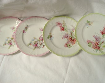 Vintage Wedding Dessert Plates Floral Porcelain Bread Butter Plates Set of 4 Vintage Bridal Shower