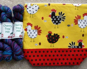 Adorable Chickens Knitting Project Bag with Cherry Tree Hill Yarn Kit