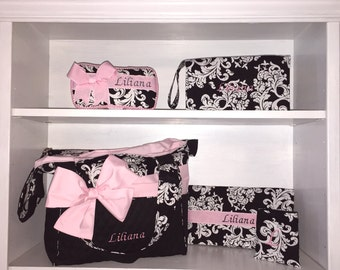 Personalized Messenger Style Diaper Bag Set.  Black & White Damask With Light Pink Bow/Sash. Added Outside Pockets. Add Matching Accessories