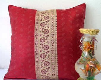 Sari Pillow Cover Burgundy Pillow Cover Dark Red Throw Pillow Decorative Pillow Cushion Cover Unique Pillows Statement Pillow Embroidered