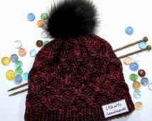 Knit chunky hat, super chunky hat, knit red hat, fur pom beanie, pompom hat, woman hat, woman beanie, skull cap, skully, winter hat