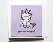 Cute Unicorn Handmade Greeting Card You Are Magical Quote Just Because Card Motivational Quote Magic Quote