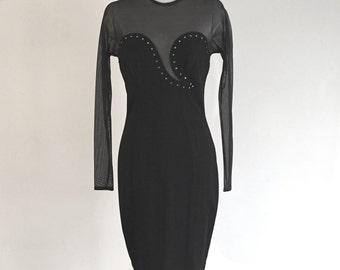 Vintage 1980s dress - black Tadaski 1940s vintage dress illusion netting rhinestones - 80s mini dress