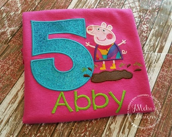 Peppa Pig Muddy Puddle Birthday Custom Tee Shirt - Customizable -  Infant to Youth 264