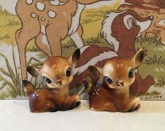 Vintage Pair of Plastic Deers Cute Bambi Kitsch