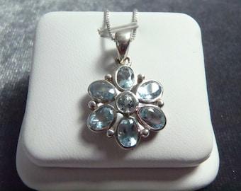 Sterling Silver Blue Topaz Flower Pendant w/Chain P168
