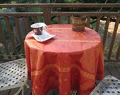 "62""diameter or 48"" diameter round Jacquard coated tablecloth.Stain resistant and water proof.French Provencal .Fabric Paisley in terra cotta"