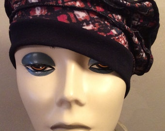 Black Beret Cap, Knitted with colorful panels