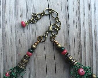 Wire Crochet Statement Necklace