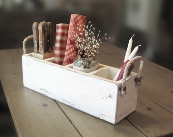 Primitive wooden box, rustic utensil box with dividers