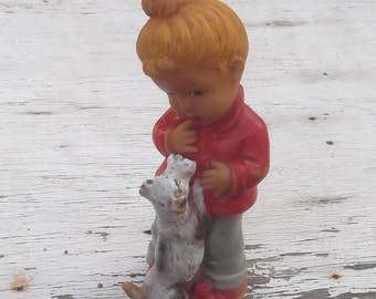 Antique Old Vintage Rubber Squeaky Doll, Girl with Dog, Antique Toy, Collectible