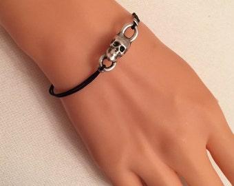 Silver Skull Bracelet,Skeleton Head Bracelet,Bone Charm,Rock,Black Cord,Silver Charm Bracelet,Casual,Christmas Gift