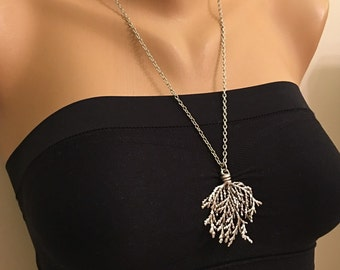 Sea Coral Pendant Necklace,Trendy Long Necklace,Silver Jewelry,Fashion Style,Stylish,Necklaces,Silver Jewelry,Antique Silver Coral Charm,Fun
