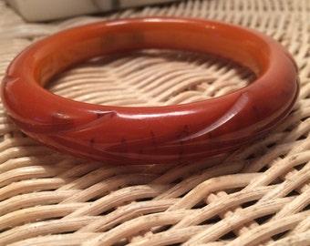 Vintage Bakelite bangle pumpkin spice delicious tested carved