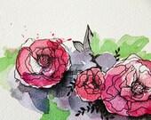 Red Rose Florals - Original Watercolour + Ink Pen Art Drawing - Size A5 - (unframed)