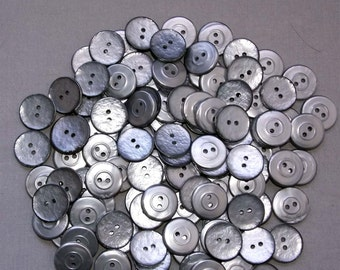 100 Silver, Plastic Buttons New