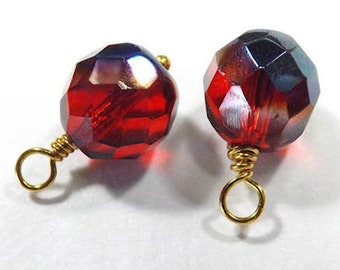 Dark Two Tone Red 10mm Faceted Wired Charm Dangle Hand Wire Wrapped Drop (2, 4, 6, or 8)