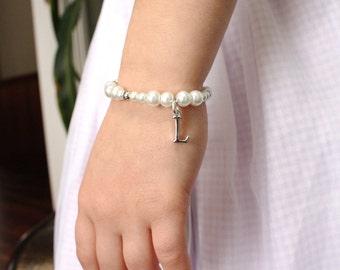 Personalized Flower Girl Gift - Initial Charm Bracelet - Flowergirl Bracelet - Monogram Jewelry - Custom Wedding Gift - Layla
