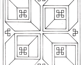 Download Roman mosaic pattern - Four boxes in perspective (5mm)