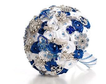Blue and White Wedding Brooch Bouquet, Bridal Bouquet, Rose Bouquet, Silk Wedding Bouquet, Bridesmaid Bouquet, Brides Bouquet