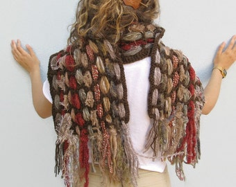 Wool Weave Handwoven Weaving Crochet Winter Scarf Hippie Scarf with Fringes Falls Colors Scarf