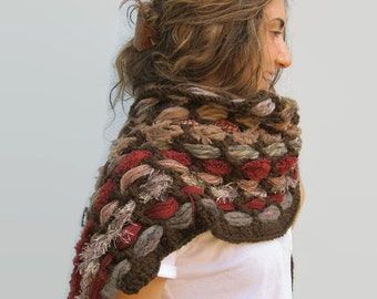 Handwoven Weaving Crochet Winter Scarf Hippie Wool Weave Fringed Scarf  Falls Colors
