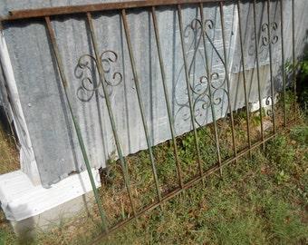 Vintage Wrought Iron Fence Panels Decorative Metal Fence Panels Shabby Chic Chippy Paint Ironwork 6 Feet Long