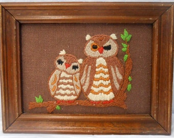 Vintage Embroidery Crewel Mama and Baby Owls Framed Fiber Art