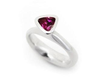 Trilliant cut rhodolite garnet ring, triangle gemstone, freeform silver ring - January birth stone